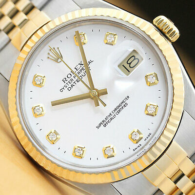 $ CDN6943.04 • Buy Rolex Mens Datejust 16013 White Diamond Dial 18k Yellow Gold & Steel Watch
