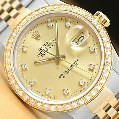 $ CDN8645.83 • Buy Rolex Mens Datejust Factory Diamond Dial 18k Yellow Gold Stainless Steel Watch
