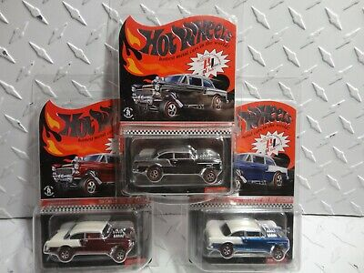 $437 • Buy Hot Wheels Red Line Club Red, Black & Blue '55 Chevy Bel Air Gassers