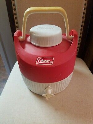 $22.95 • Buy Vintage Coleman 1 Gallon Red White Water Cooler Spigot Jug Camping Picnic USA