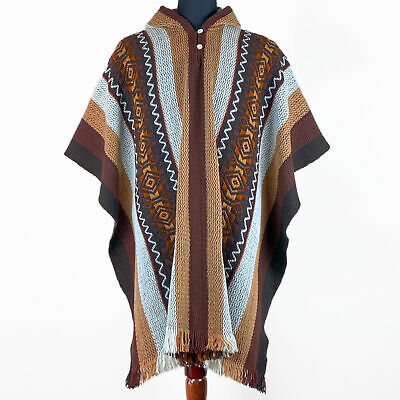 $75.95 • Buy Llama Wool Mens Womans Unisex South American Poncho Cape Jacket Pullover Brown