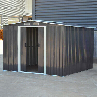 8FT X 8FT SHED Metal Apex Roof Outdoor Storage House Shed With Floor Foundation • 405.95£