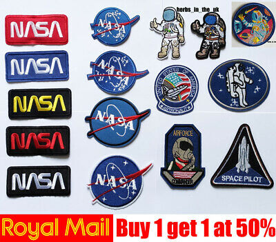 £2.25 • Buy NASA USA Logo Space Ship Spaceman Patch Iron On / Sew On Patch Badge