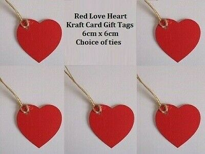 Valentines Gift Tags 5x Large Love Heart Shape Red Kraft Card Labels 6x6cm +Ties • 2.79£