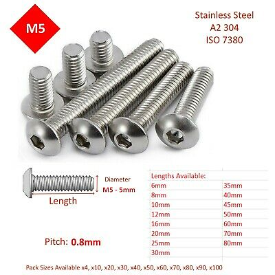 £2.49 • Buy M5 - 5mm BUTTON HEAD ALLEN BOLTS HEX SOCKET SCREWS STAINLESS STEEL A2  ISO 7380