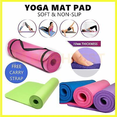 AU17.95 • Buy Thick Yoga Mat Pad Foam NBR Non-Slip Exercise Fitness Pilates Gym Durable Strap