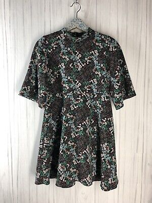 $22 • Buy Zara Women's Size Small Black Floral Mock Neck A Line Mini Dress Short Sleeve