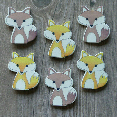 £1.90 • Buy 6 New Wooden Fox Card Topper Craft Decorations Yellow Brown Orange Embellishment