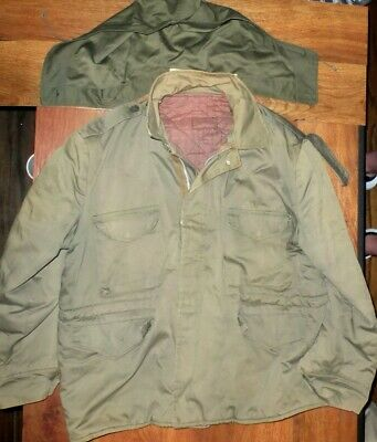 $89.99 • Buy Vintage M-1943 Wwii Field Military Insulated Jacket Coat W/ Hood Quilted Lining