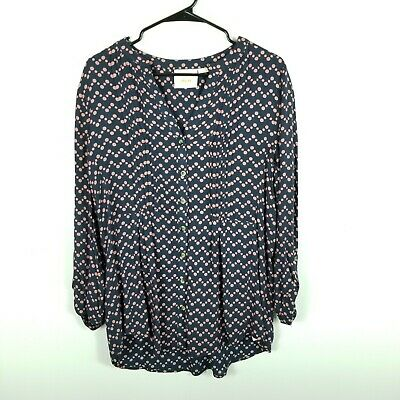 $ CDN53.01 • Buy NEW Maeve Anthropologie Button Down Top Blouse Large Women Polka Dots Navy Pink