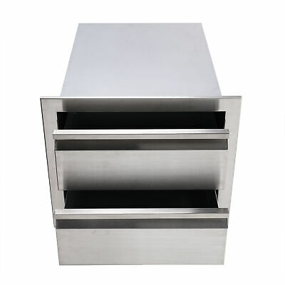 $99.65 • Buy 18  Double Worktable Drawer Stainless Steel Outdoor Kitchen BBQ Access Drawer