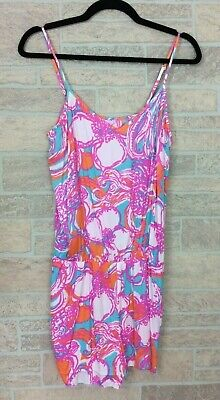 $24.99 • Buy Lilly Pulitzer Pink Blue Floral Pattern Romper Size Medium