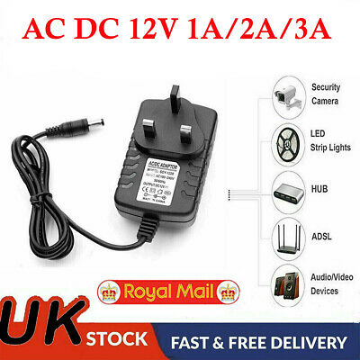 Ac Dc 12v 1a/5a Power Supply Adapter Charger For Camera / Led Strip Light Cctv • 1.59£