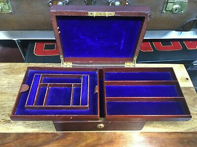 Superb Vintage Leather Double Tray Dresser Jewellery Box Case • 160£