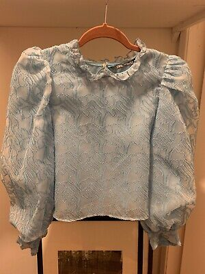 $28 • Buy Brand New Zara Crop Blouse With Puff Sleeves And High Neck Size S SOLD OUT