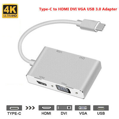 AU12.34 • Buy Type-C USB-C To HDMI DVI VGA USB 3.0 Cable Adapter For Laptop Notebook