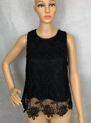 $8.99 • Buy Sans Souci Womens Black Laser Cut Work Career Blouse Top Size Small