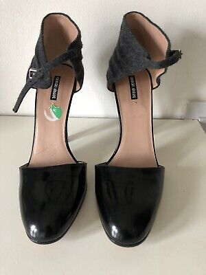 £70 • Buy Giorgio Armani Grey Patent Leather Blend Women's Shoes Size 4UK Made In Italy