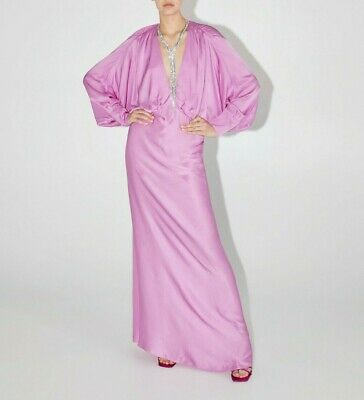 $95 • Buy Zara $129 Nwt Satin Pink Flowing Long Deep V Neck Viscose Dress Xl 7738/824