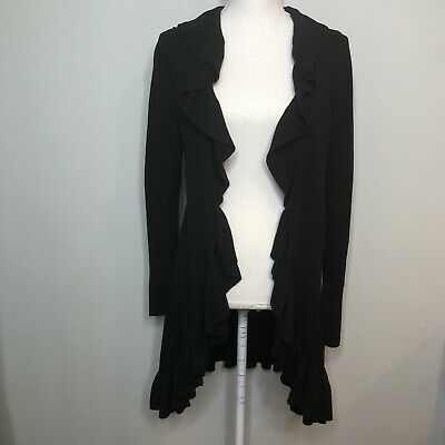 $32 • Buy Lilly Pulitzer Size Large Black Long Ruffle Open Cardigan