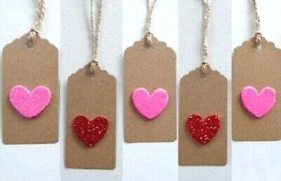 Gift Tags Heart Kraft Card Labels 9x4cm Gift Wrap Valentine's Day, Mother's Day • 2.59£