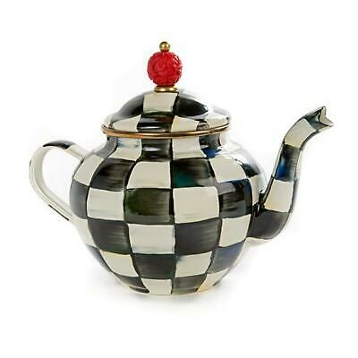 $69 • Buy Mackenzie Childs Courtly Check Enamel 4 Cup Teapot
