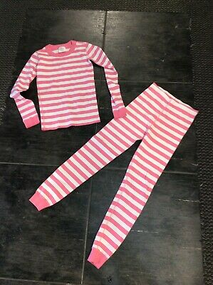 $7 • Buy Youth Girls Hanna Andersson 2piece Pink & White Stripe Pajamas, 140cm/ US 10