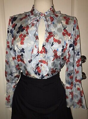 $28 • Buy NWT Zara Light Blue Red Floral Green Leaf Tie Neck Top Shirt Blouse - M $39.90
