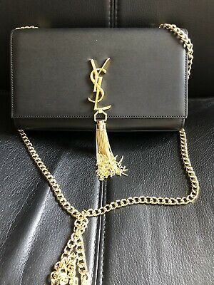AU899 • Buy Authentic YSL Saint Laurent Medium Kate Leather Chain Shoulder Bag