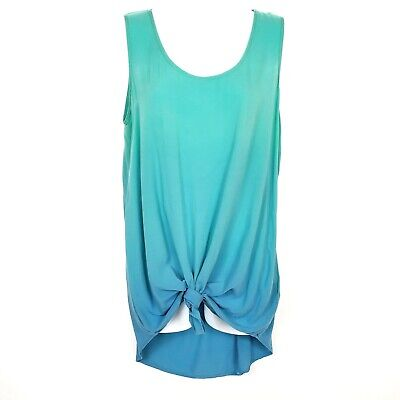 $ CDN33.13 • Buy BLU PEPPER ANTHROPOLOGIE Medium Blue Green Sleeveless Ombre Knot Tunic Tank Top