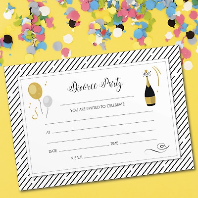 10 X Divorce Party Invitations, Gold Champagne Design, Includes Envelopes • 2.99£