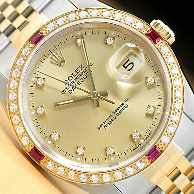 $ CDN9021.79 • Buy Mens Rolex Datejust Factory Dial 18k Gold Diamond Ruby & Steel Watch 16233