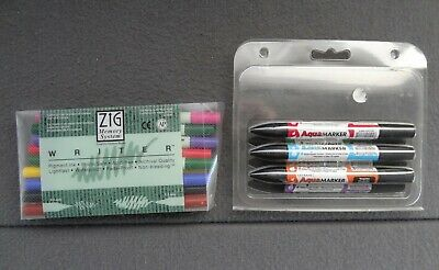 $15.98 • Buy Zig Memory Letraset Markers Lot Archival Aquamarker EK Success Double Sided Set