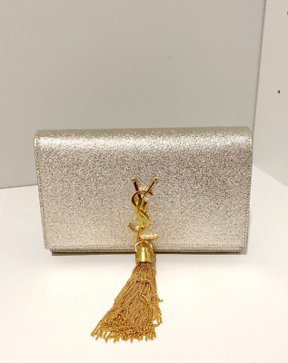 AU1300 • Buy Silver YSL Evening Bag With Gold Details And Chain