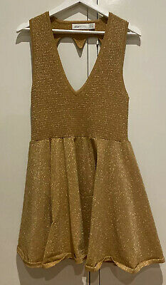 AU9.50 • Buy Alice McCall Gold Sparkly Love Heart Cut Out Dress Size 10