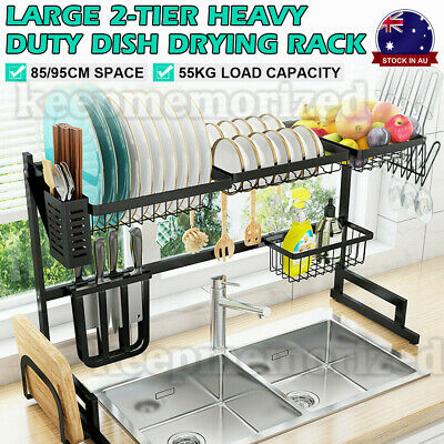 AU118 • Buy 95CM Stainless Steel Dish Drying Rack Organizer Over Sink Kitchen Draining NEW