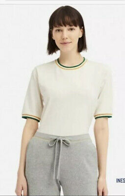 AU10 • Buy INES DE LA FRESSANGE UNIQLO ILDF COTTON CREW NECK TEE W 70's ACCENT STRIPES