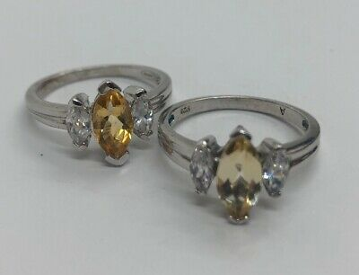 $ CDN39.42 • Buy Vintage Sterling Silver Rings Set 925 Size 8.5 Lot Of 2 Citrine CZ