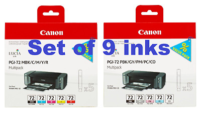 £94.99 • Buy Genuine Canon PGI-72 Set Of 9 Ink Cartridges For Pixma Pro 10 - FREE DELIVERY