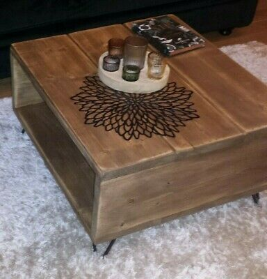 Coffee Table Rustic Chunky With Solid Wood Metal Hairpin Legs • 98.99£