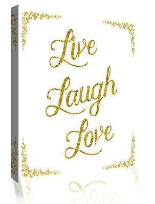 Live Laugh Love Glittery Faux Gold Quote Canvas Wall Art Picture Print • 23.50£