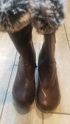 $45 • Buy NANA' Brown Leather Zip Up Faux Fur Trimmed  Clog Boots Women's 39 -US 8 M RARE