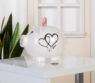 86968 Piggy Bank Big Love Die White/Silver Money Box • 38.35£