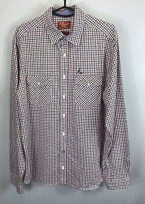 AU20 • Buy RM Williams Blue And Red Check Long Sleeve Shirt - Size Large - Classic Fit