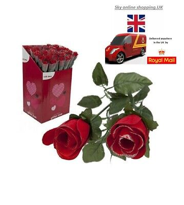 Valentine Day Romantic Gifts  ARTIFICIAL GLITTER ROSE Single Stem LOVE GIFT • 4.99£