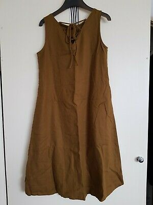 AU20 • Buy NWT XS Uniqlo Linen Blend Dress Mustard Yellow Brown Sleeveless