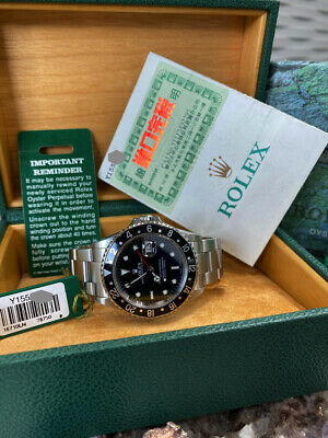 $ CDN15183.01 • Buy Rolex GMT Master II 16710 Black Dial Stainless Steel Complete Box Papers