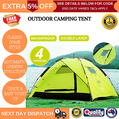 AU74.97 • Buy Waterproof Tent 3-4 Person Man Pop Up Camping Dome Tent Hiking Shelter Beach NEW