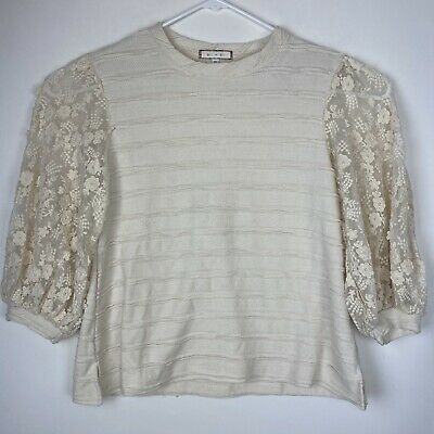 $ CDN32.33 • Buy Eri + Ali Anthropologie Sz XS Chelsea Lace Sleeve Knit Top Floral Embroidery