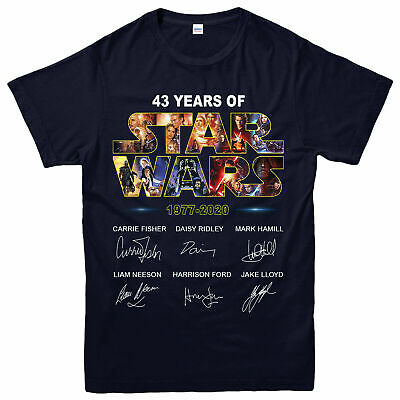 Star Wars T-shirt, 43 Years Of Star Wars 1977-2020 Signature Partywear Gift Top • 11.99£